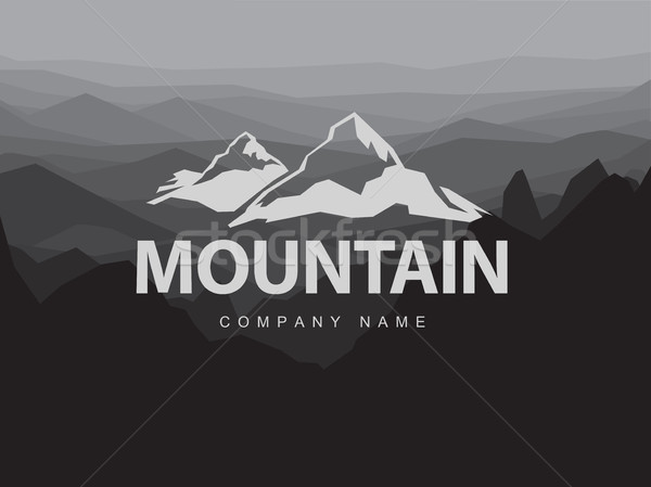 Mountains logo template with abstract peaks background. Logotype Stock photo © pashabo