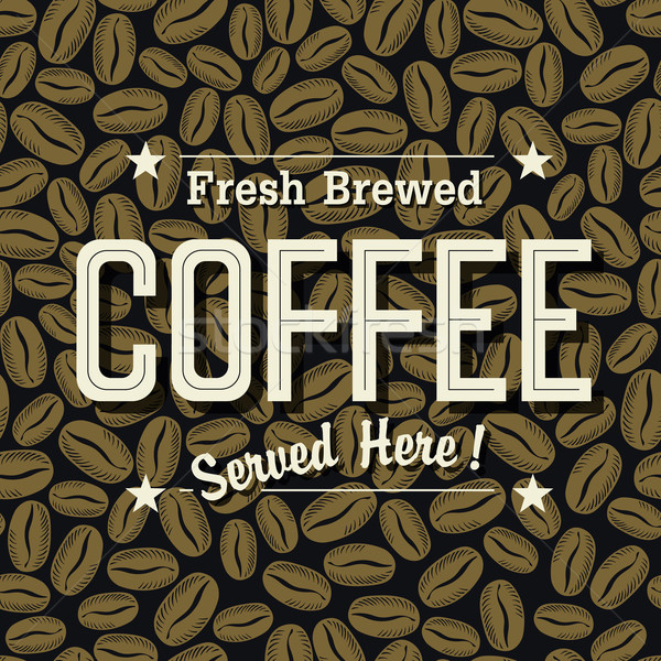 Vintage Coffee Poster. 'Fresh Brewed Coffee Served Here' Letteri Stock photo © pashabo