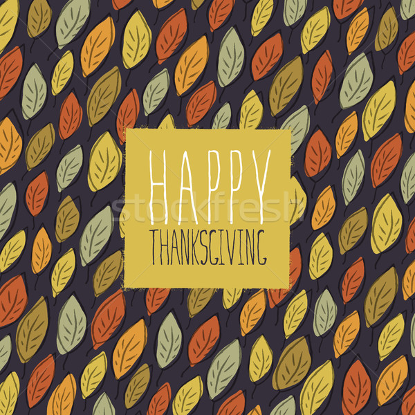 Happy Thanksgiving greeting card design. Logo and fallen leaves. Stock photo © pashabo