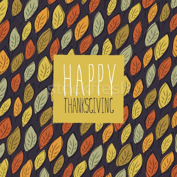 Mutlu Şükran Günü tebrik kartı dizayn logo yaprakları Stok fotoğraf © pashabo