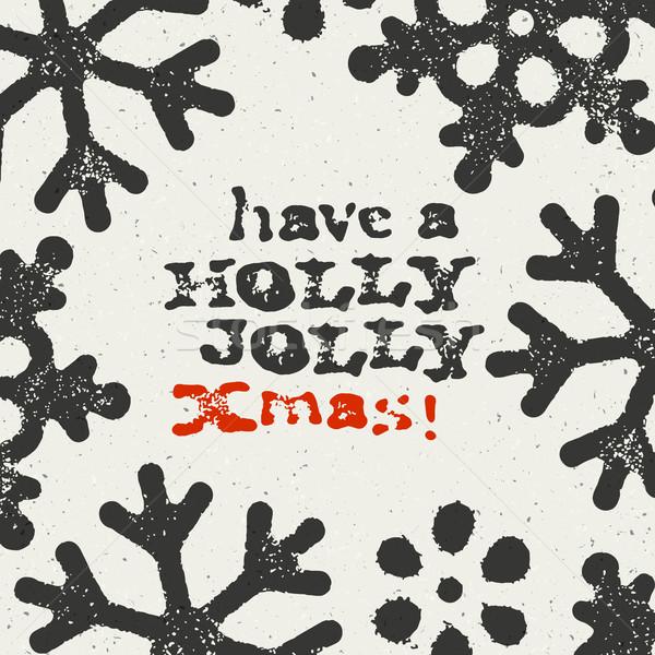 ストックフォト: 陽気な · クリスマス · グランジ · はがき · デザイン · 白