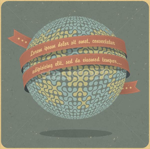 Retro globe symbol with ribbon and sample text  Vector
