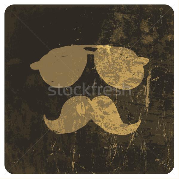 Grunge illustration of vintage face. Vector Stock photo © pashabo
