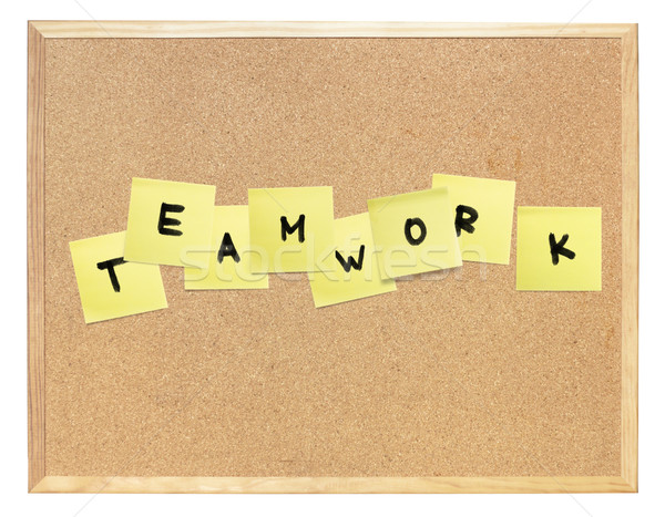 Word of Teamwork, composed on cork board. Isolated, include clip Stock photo © pashabo