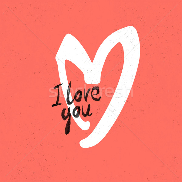 I Love You Lettering. On red paper texture Stock photo © pashabo