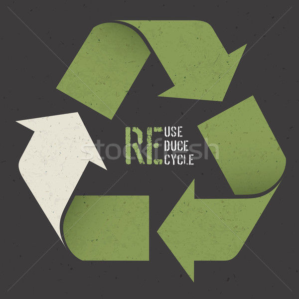 Reuse conceptual symbol and 'Reuse, Reduce, Recycle' text on Dar Stock photo © pashabo