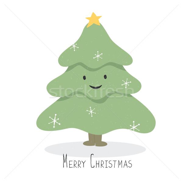 Glücklich Lächeln Weihnachtsbaum Zeichen Vektor Karikatur Stock foto © pashabo