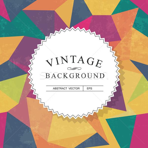Vintage Lettering. Colorful aged triangles background. Grunge la Stock photo © pashabo