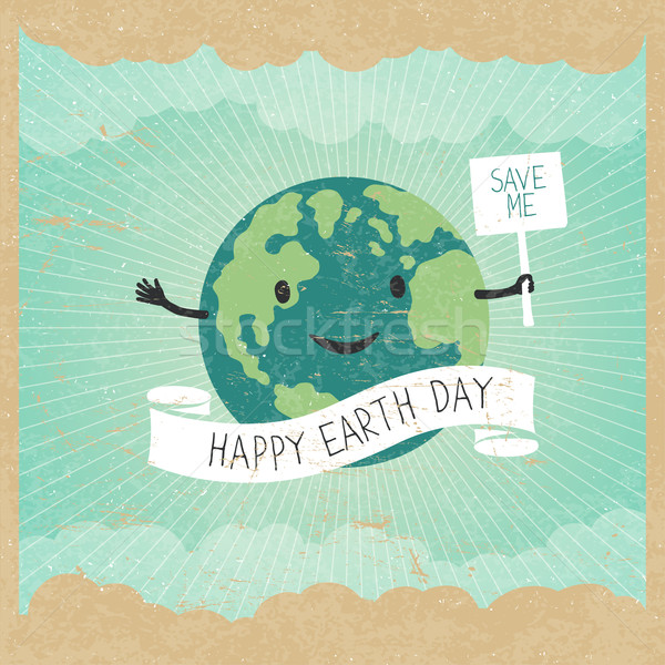 Cartoon Earth Illustration. Planet smile and hold banner with 'S Stock photo © pashabo