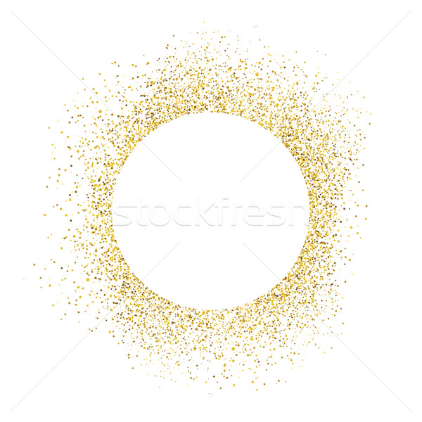 Gold sparkles on white background. White circle shape for text Stock photo © pashabo