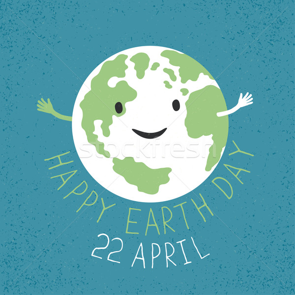 Earth Day Illustration. Earth smiling and reveals a hug. Grunge  Stock photo © pashabo