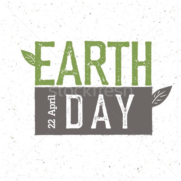 Grunge dzień ziemi logo 22 uroczystości szablon Zdjęcia stock © pashabo