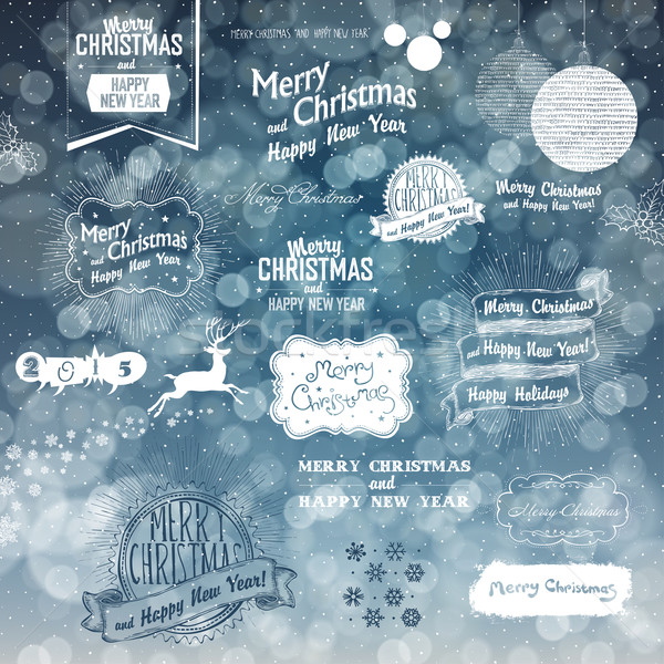 Merry Christmas And Happy New Year Elements on Blue Defocused Ba Stock photo © pashabo