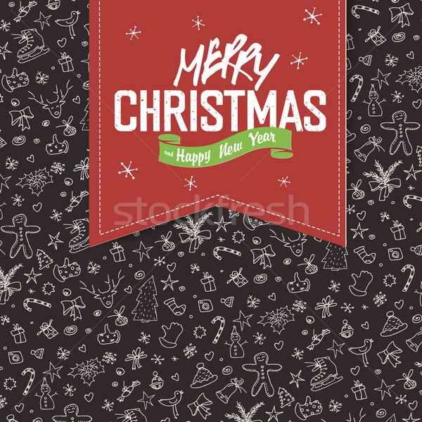 Merry Christmas Greeting Card. Red label with lettering on hand  Stock photo © pashabo