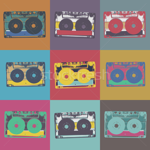 Audiocassette retro popart music seamless background. Audiocasse Stock photo © pashabo