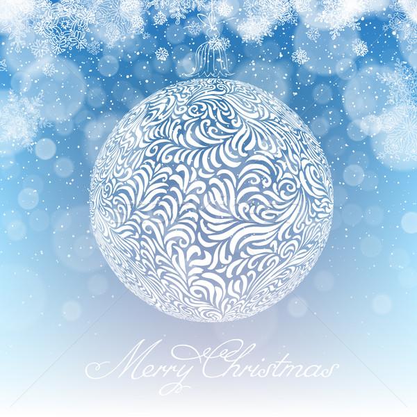Joyeux Noël balle noël chutes de neige lumière Photo stock © pashabo
