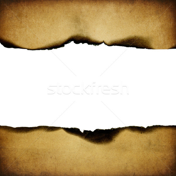 Vintage burned paper background, centerline isolated (space for  Stock photo © pashabo