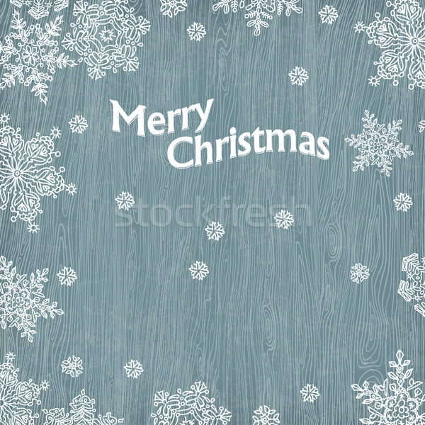 Christmas greetings with snowflakes on wooden texture. Vector il Stock photo © pashabo