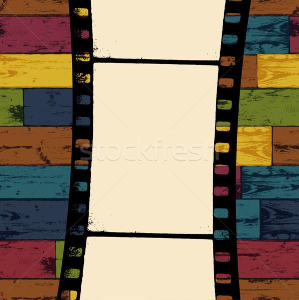 Foto d'archivio: Film · strip · colorato · senza · soluzione · di · continuità · legno · vettore · eps10
