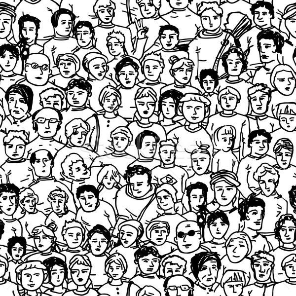 Hand Drawn People Characters Unrecognizable. Seamless pattern Stock photo © pashabo