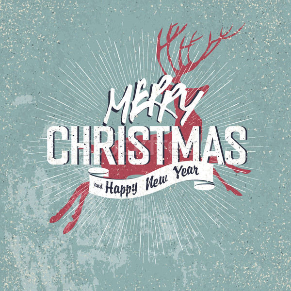 Merry Christmas Vintage Lettering with Christmas red deer silhou Stock photo © pashabo