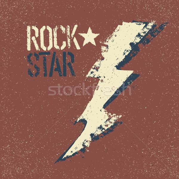 Rockstar. Grunge lettering with thunderbolt symbol. Tee print de Stock photo © pashabo