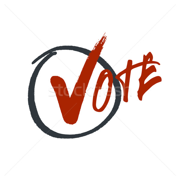 Vote typography. Grunge red check mark in hand drawn circle area Stock photo © pashabo