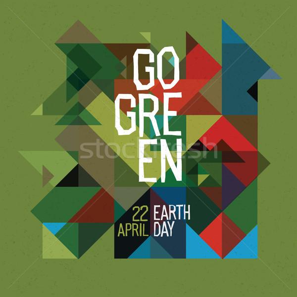 Zielone szczęśliwy dzień ziemi plakat 22 kolorowy Zdjęcia stock © pashabo