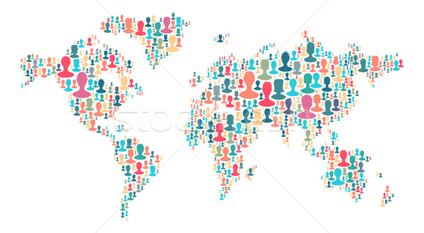 The map of the world made of plenty people silhouettes. Collecti Stock photo © pashabo