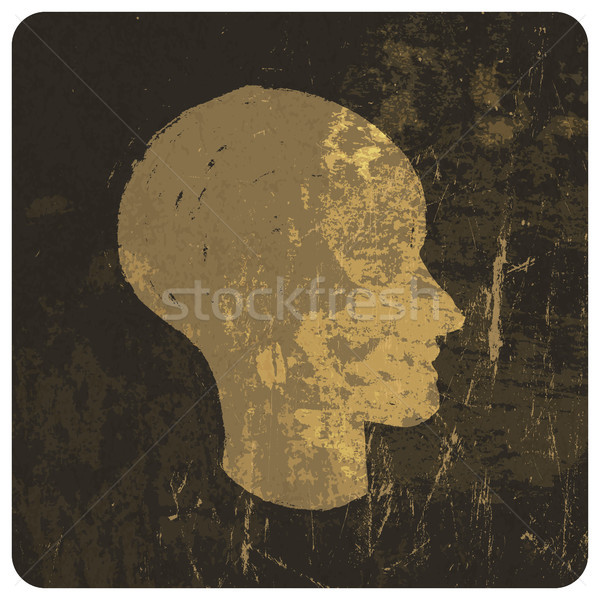 Grunge illustration of head silhouette. Vector Stock photo © pashabo