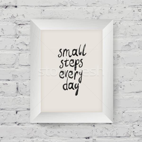 Motivációs poszter kicsi lépcső nap művészet Stock fotó © pashabo