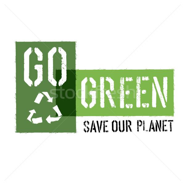 Ecology Concept Illustration. Go Green Headline with Reuse Symbo Stock photo © pashabo
