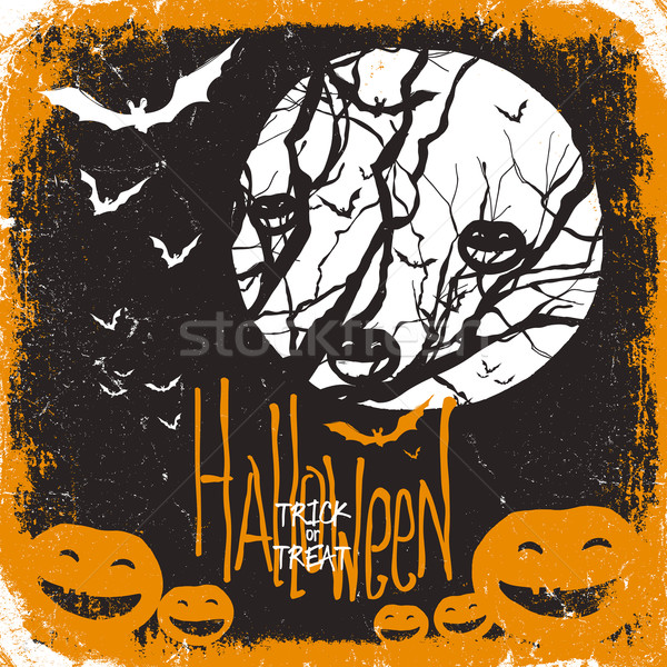 Halloween vector illustration. Dry tree, full moon and pumpkins  Stock photo © pashabo