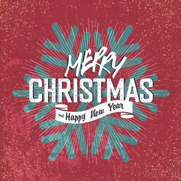 Merry Christmas Vintage Lettering with Christmas snowflake silho Stock photo © pashabo