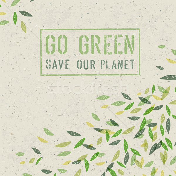 Go Green concept on recycled paper texture. Vector Stock photo © pashabo