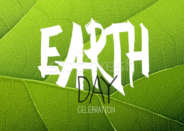 Boldog föld napja poszter zöld levél textúra papír Stock fotó © pashabo