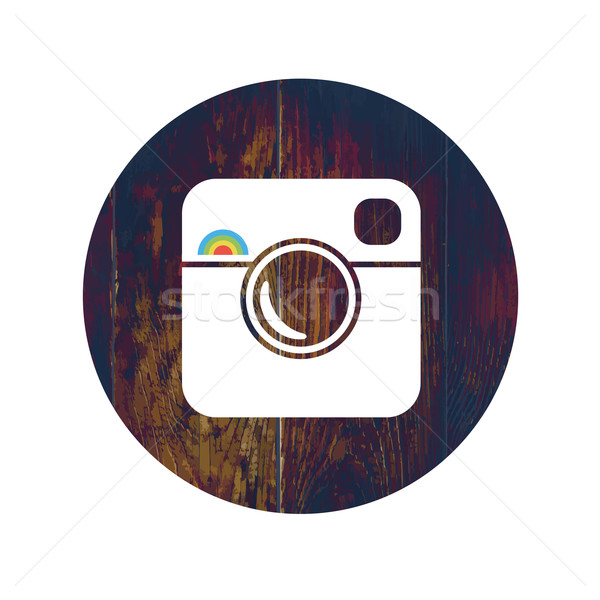 Hipster Photo Icon on Wooden Texture with Cross Process Effect Stock photo © pashabo