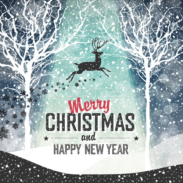 Falling Snow. Merry Christmas Background with Text Stock photo © pashabo