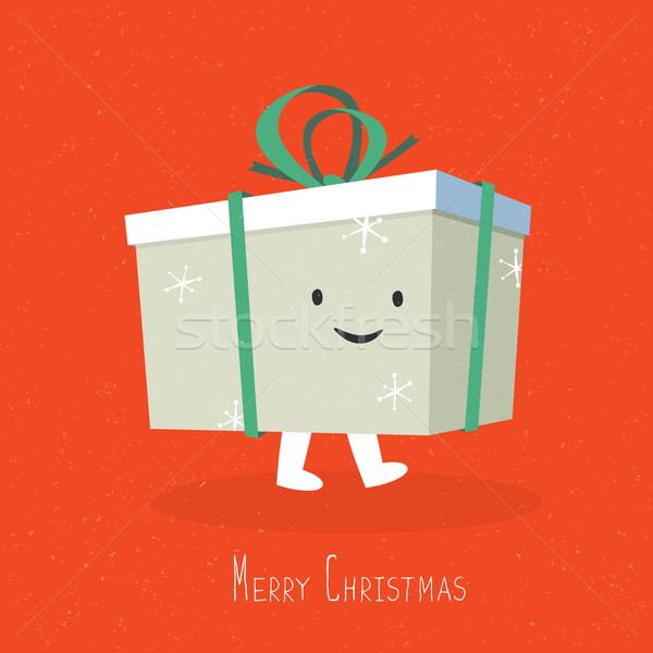 Happy and smile Christmas Gift Box Character. Vector cartoon ill Stock photo © pashabo