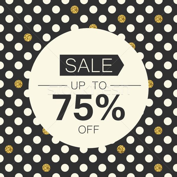Sale 75%. Sale coupon design template. Polka dot gold foil on bl Stock photo © pashabo
