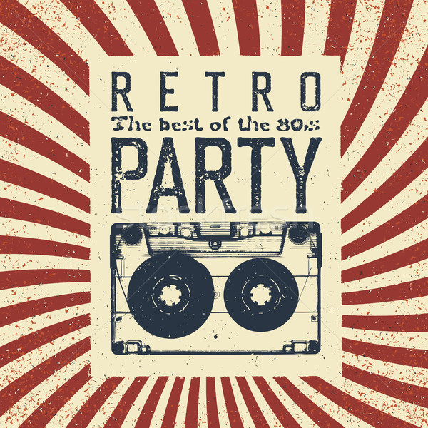 Retro party advertising flyer with old audiocassette. Old-fashio Stock photo © pashabo