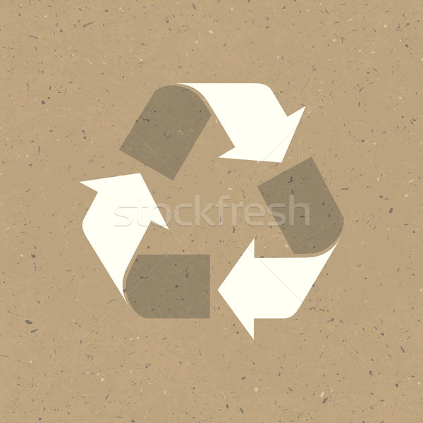Recycled sign on reuse paper. Vector, EPS10 Stock photo © pashabo