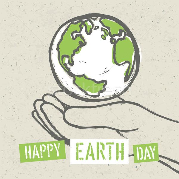 地球 シンボル 手 ベクトル 紙 世界中 ストックフォト © pashabo