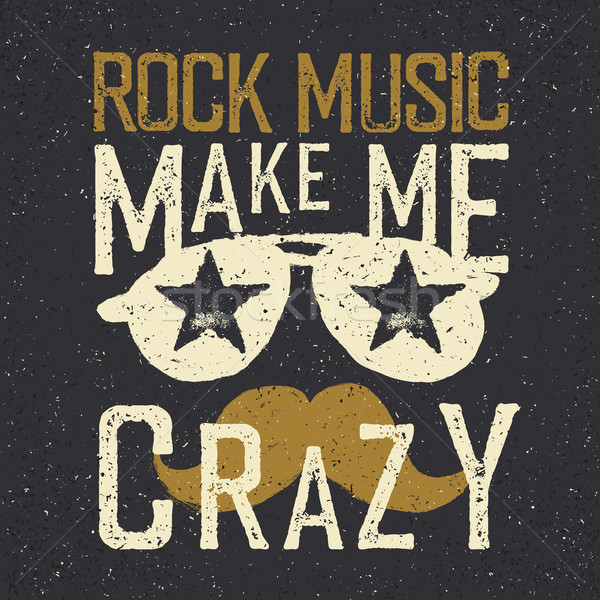'Rock music make me crazy'. Sunglasses with stars and moustache. Stock photo © pashabo