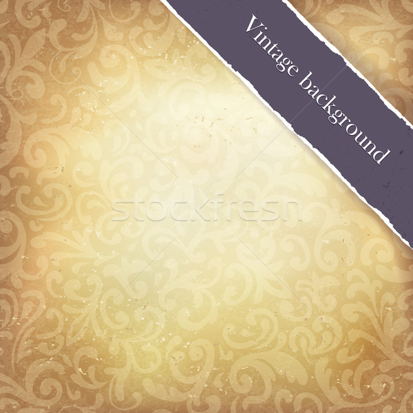 Vintage paper ornamented background with ribbon (space for text) Stock photo © pashabo