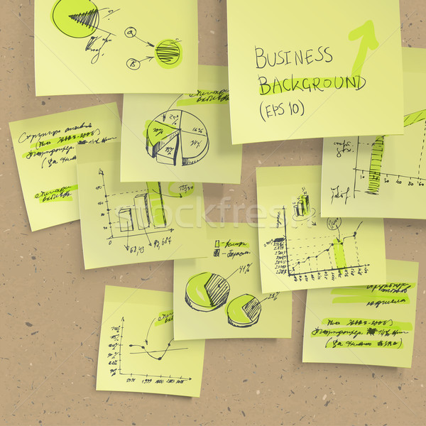 Stock photo: Yellow sticky notes with business infographics on cork board, cl