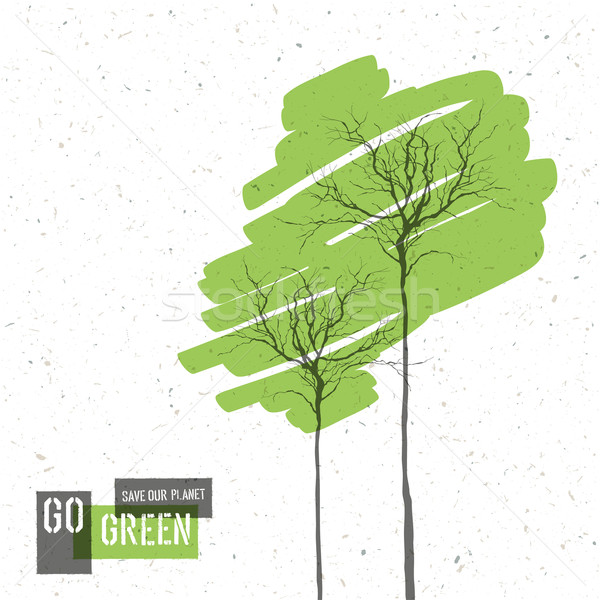 Go Green Concept Poster With Trees. Vector Stock photo © pashabo