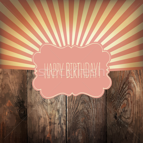 Happy Birthday greeting card with sunrays and vintage label. On  Stock photo © pashabo