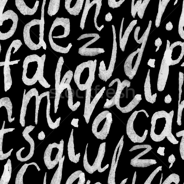 Seamless white paint hand-drawn alphabet on blackboard pattern Stock photo © pashabo