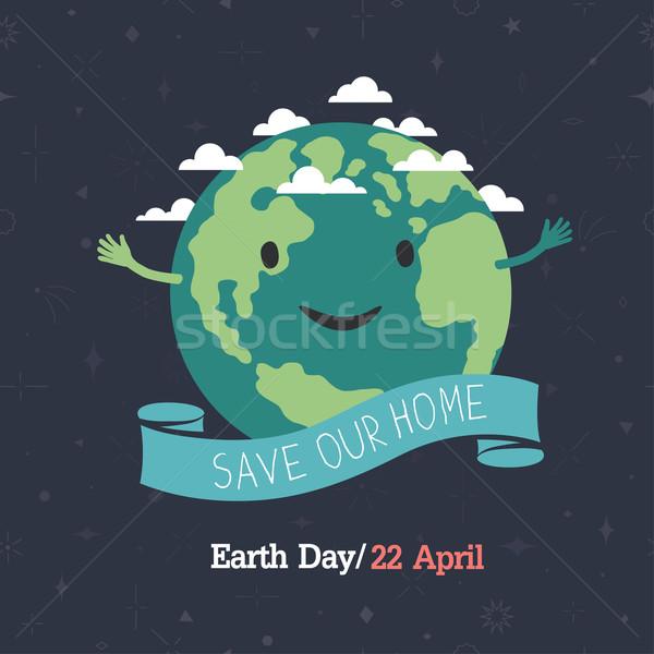 Dzień ziemi 22 zapisać domu cartoon ziemi Zdjęcia stock © pashabo